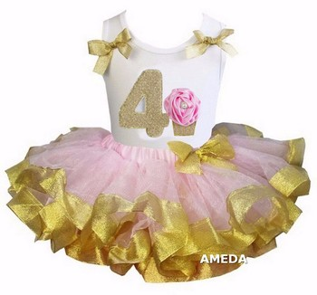Girls Light Pink Gold Satin Trimmed Tutu with 4th Rosette Cupcake White Tank Top
