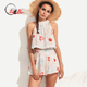 Latest Ladies Hot Summer Two Piece Outfits Clothing Floral Print Halter Crop Top and Shorts Two Piece Sets