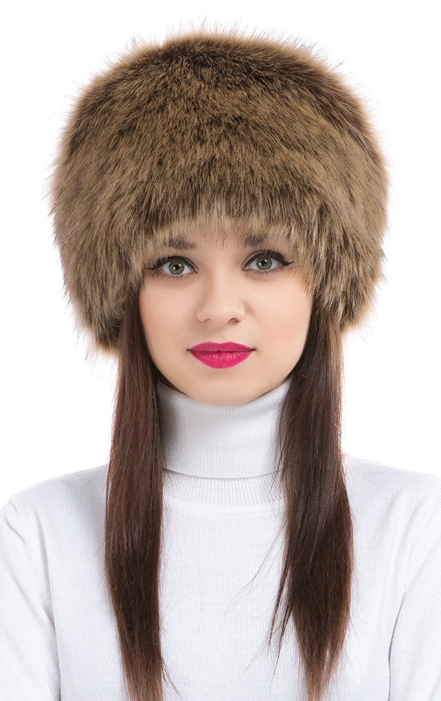 Women's Winter Faux Fur Headband Ear Warmer Cossak Russian Style Hat