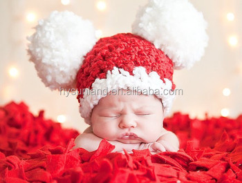W-556 cute lovely hand knitted pom pom baby santa hat for new born christmas 29e698ec2ff