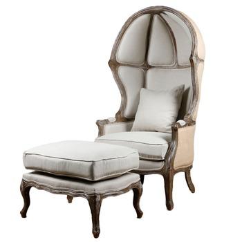Egg Chair Stof.Franse Stijl Vintage Ei Stoel Massief Hout Linnen Stof Leisure