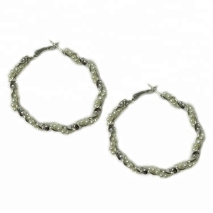 Fashion Acrylic Pearl Wrapped Twisted Hoop Earrings