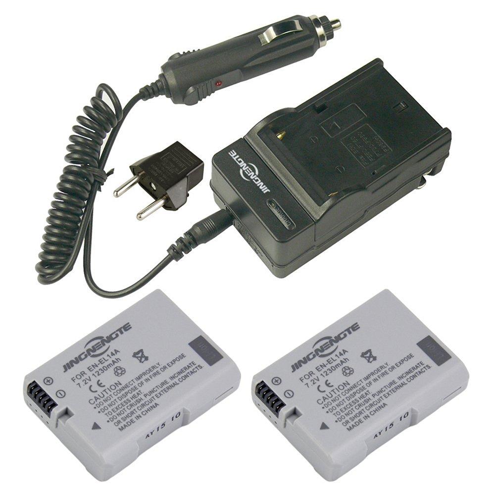 JINGNENGTE® EN-EL14 2-Pack Replacement EL14A Battery and 1x Home ChargerKit for Nikon MH-24 Coolpix P7000, P7100, P7700, P7800, D5100 DSLR, D5200 DSLR, D5300 ,Df DSLR Cameras