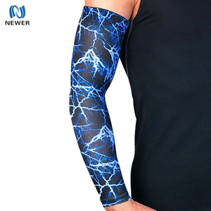 UV protection breathable sport basketball volleyball cycling custom sublimation tatoo long arm sleeves elbow pads