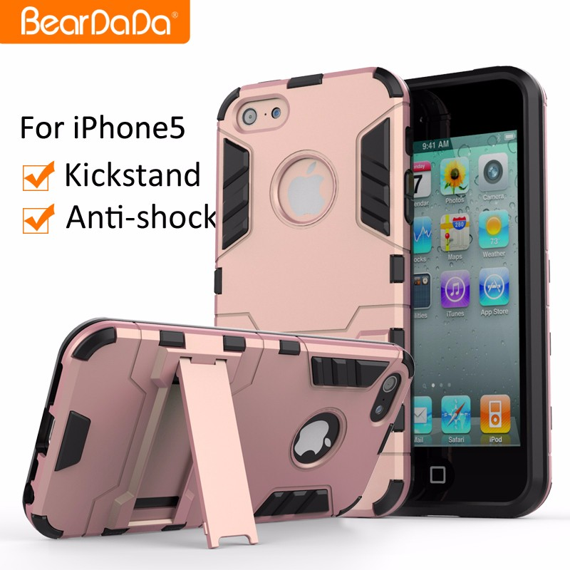 Anti shock kickstand Hybrid TPU PC cellphone case for iphone 5
