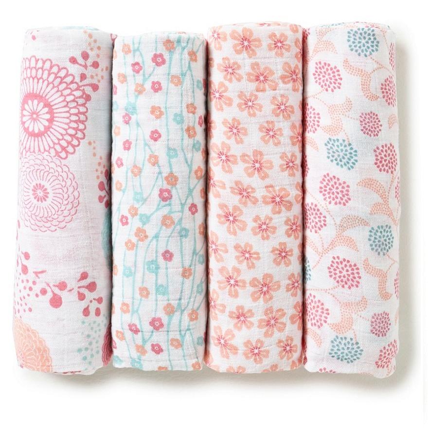 맞춤형 아기 모슬린 담요 1/2/3/4 팩 세트 면화/대나무/유기 및 선물 상자 공장 낮은 MOQ OEM