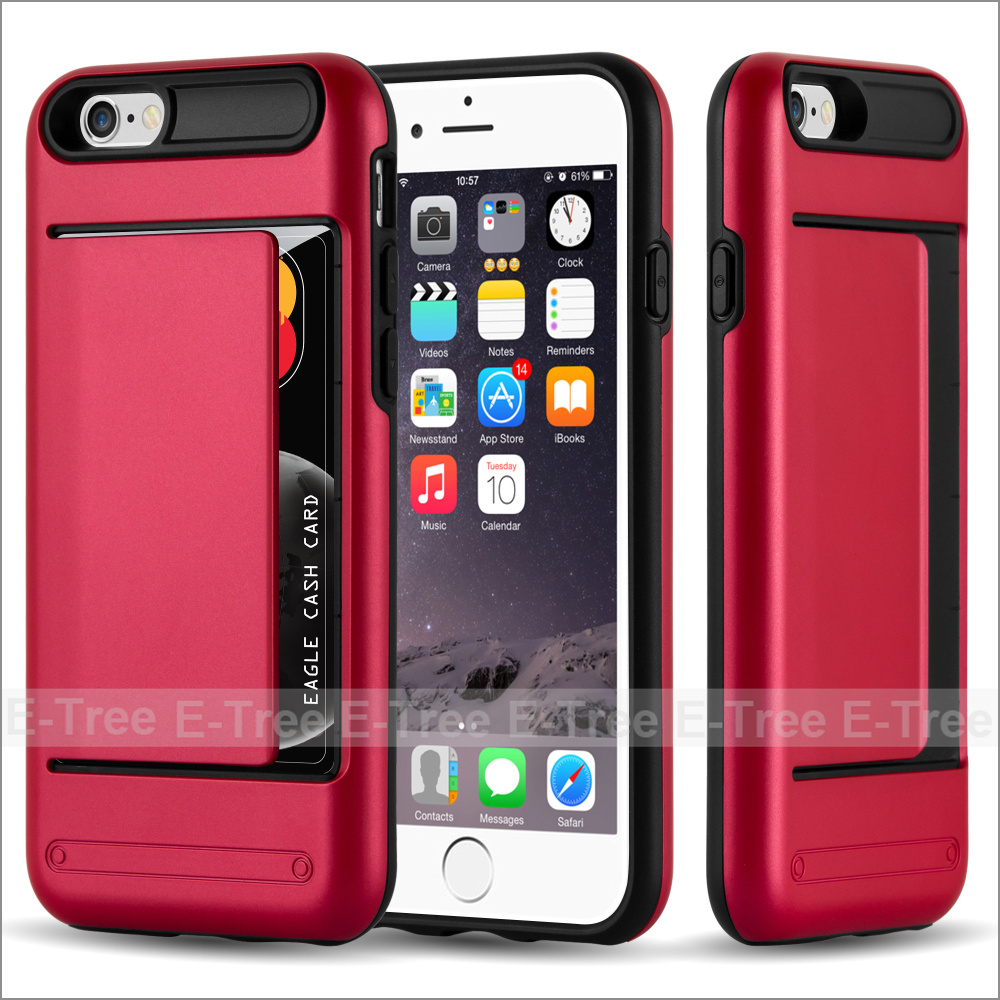 Wallet Credit Card Holder Pc Back Tpu Bumper Case Cover For Iphone 6s  Plus,Dual Layer Protective Case For Iphone 6 Plus - Buy Wallet Card Holder  Case