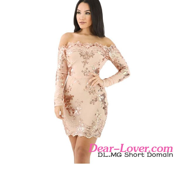 Best Price Hot Sexy Pink Sequin Multi-Way Club Bodycon Dress 2017