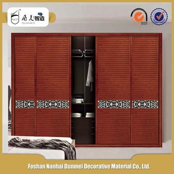 Bedroom teak wood wooden shutter laminate wardrobe sliding for Bedroom wardrobe shutter designs
