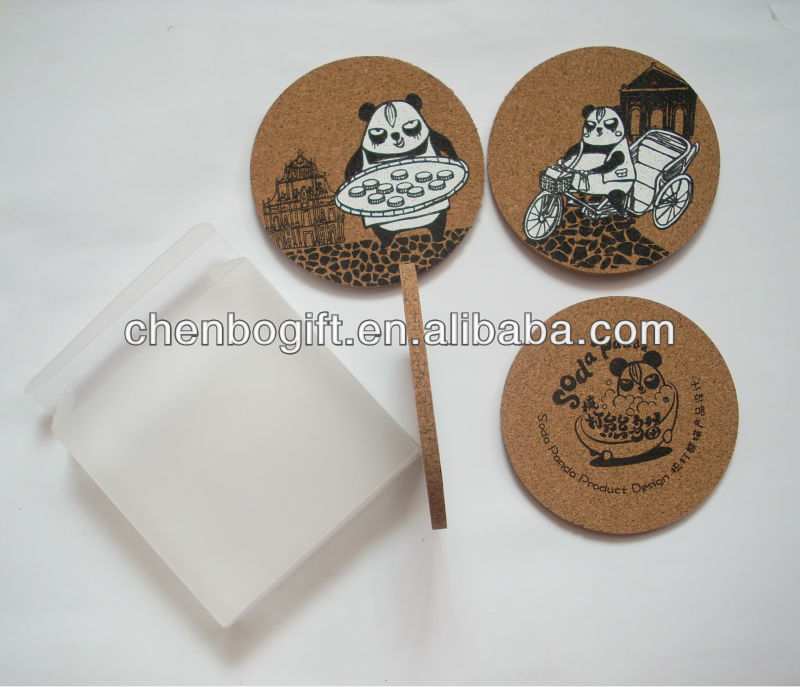 Custom Made Silk Screen Printed Natural Cork Tea Coaster