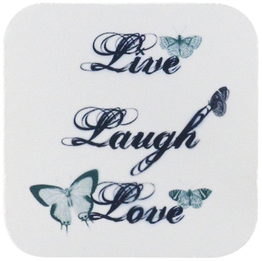 3dRose cst_130535_2 Live, Laugh, Love Teal Butterflies Inspirational Arat Soft Coasters, Set of 8