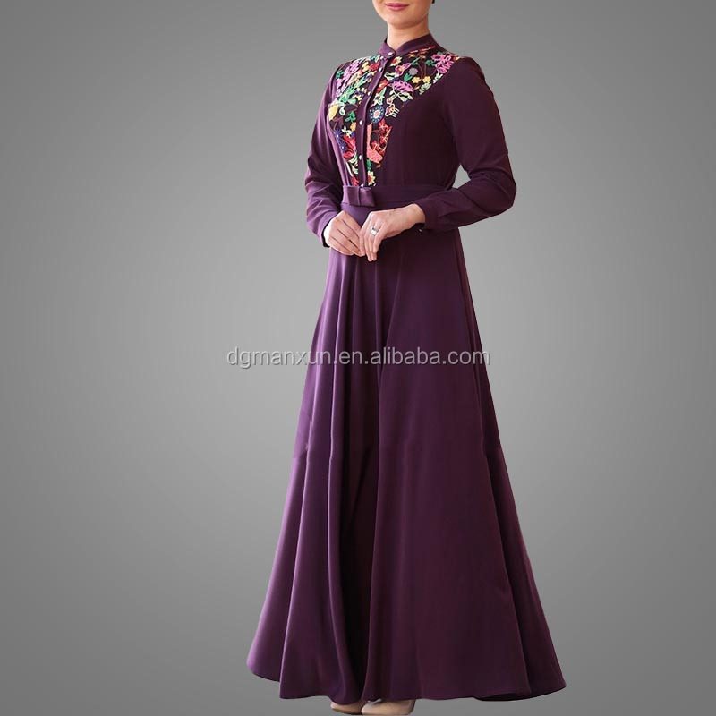 Elegant Muslim Islamic Evening Dress Lace Embroidery Women Dress Slim fit Abaya Dubai 2017