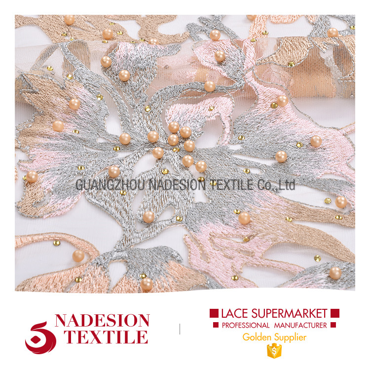 Top quality wedding fabric hand embroidery beading lace/embroided fafric with bead