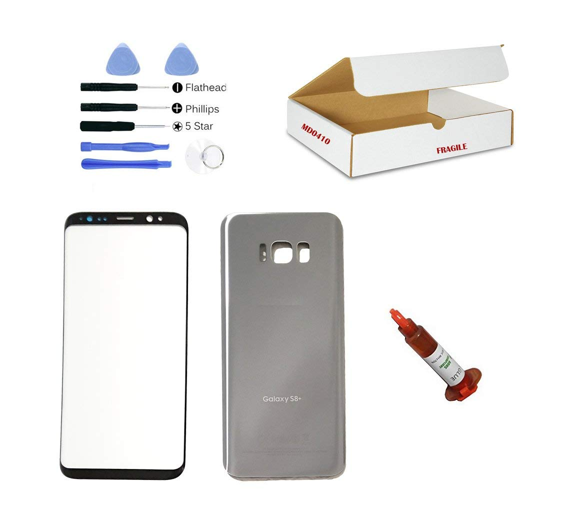 (md0410) Front Outer Glass Lens, Silver Back Cover Replacement Compatible Galaxy S8 Plus G955 + Adhesive + Opening Tool (LCD & Digitizer Not Included)