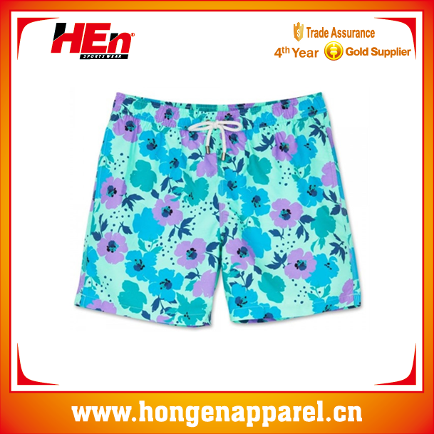 Hongen apparel hot sale swimming wear men beach clothing,colorful print wholesale surf wear ,china supplier men swimming shorts
