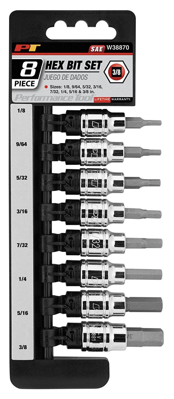 "Performance Tool W38870 8 Piece 3/8 Drive SAE Hex Bit Socket Set 1/8"", 9/64"", 5/32"", 3/16"", 7/32"", 1/4"", 5/16"", 3/8"