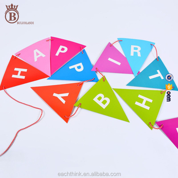 korean color paper birthday triangle letter flag party deco