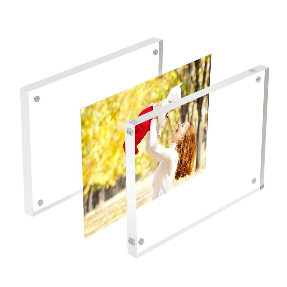 Plexiglas transparent sandwich cadre photo table debout double face sandwich acrylique cadre photo