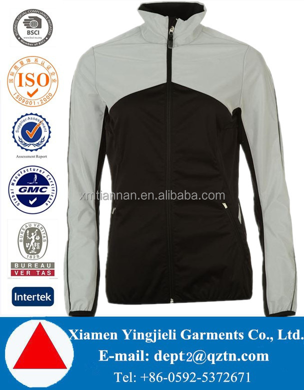 New arrival high quality apparel full zip fastening 4 way stretch fabric running jackets ladies