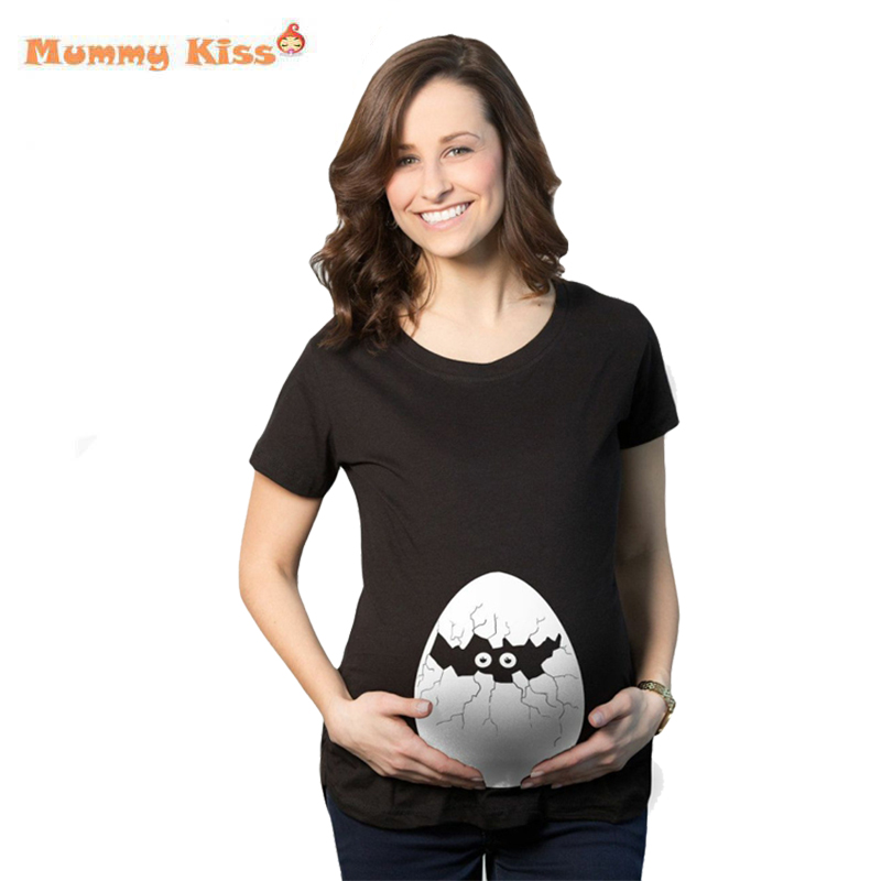 Summer Pregnant Maternity T Shirts Funny Cartoon Printed Pregnant Women Tops Plus Size Broken Shell Woman
