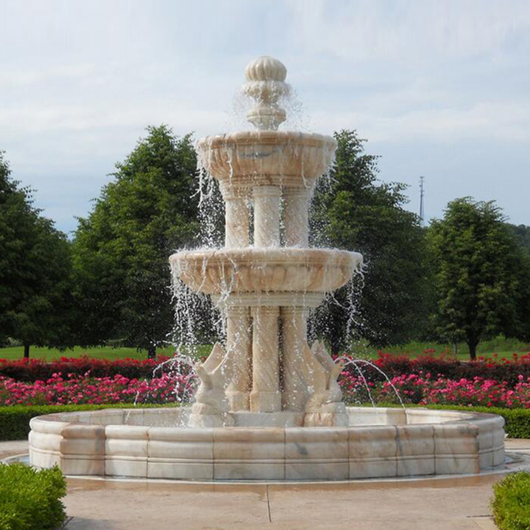 Large size garden stone fountain with pillar design