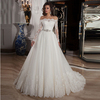 Luxury Elegant Appliques Beading Off Shoulder Bridal Gowns Vestido De Noiva Long Sleeve White Tulle Wedding Dresses CWFw2297