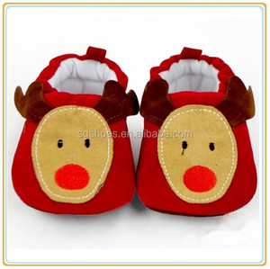 Red Deer Cotton Soft Baby Girl Shoes for Winter
