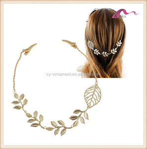 Fashion women wedding bridal leaf hair wrap ornament