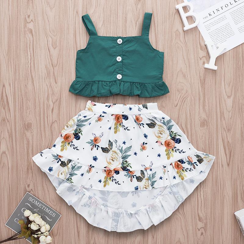2019 new summer girls green buttons tops & floral full print dress skirt 2pc set фото
