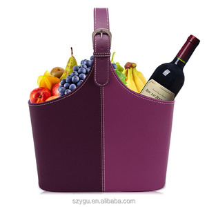 Factory Supplier High Quality PU Leather Gift Storage Basket