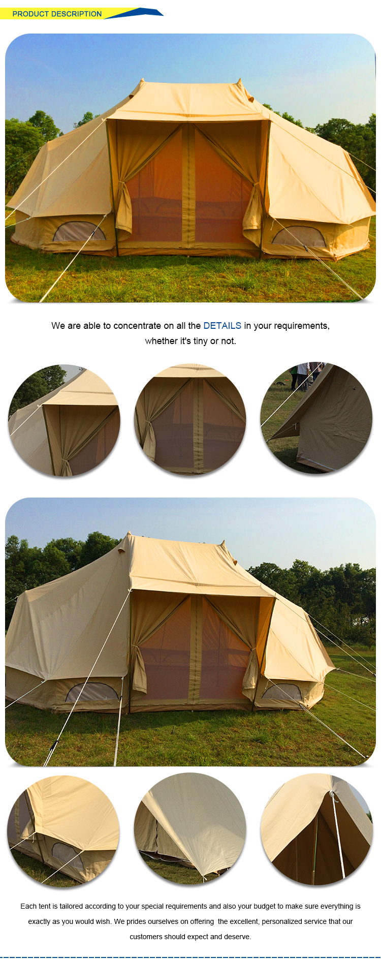 Sun shelter wedding outdoor luxury marquee camping tent
