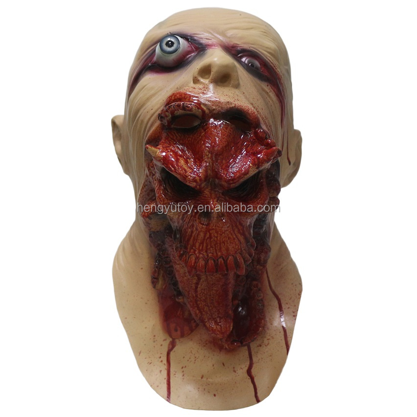 Hot-selling awesome Halloween Devil Ghost Latex Scary horror Props Rubber devil Mask
