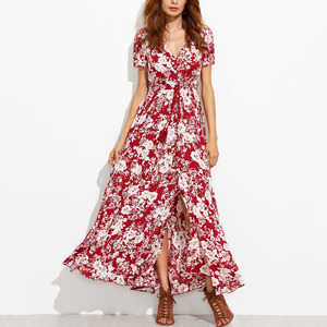 2018 New Fashion Rayon Floral Print Ladies Sexy Summer long Maxi Dress