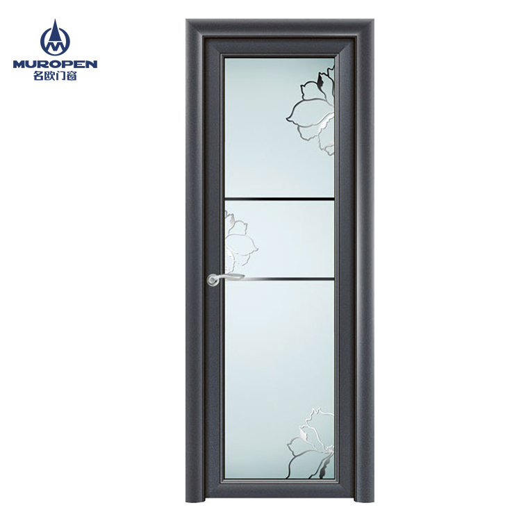 Modern Aluminum Toilet Door Bathroom Door Design With Frosted Glass