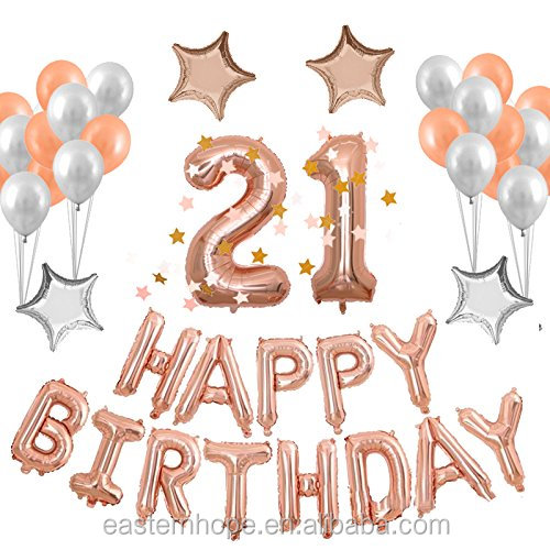 Easternhope 21st Rose Gold Birthday Party Decorations Supplies Set Foil Balloons With Happy Birthday Banner View Balloons Foil Happy Birthday Easternhope Product Details From Hangzhou Easternhope Arts Crafts Co Ltd On