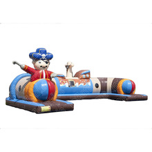 pirate theme inflatable kids fun tunnel/ inflatable pirate train caterpillar tunnel obstacle course for children