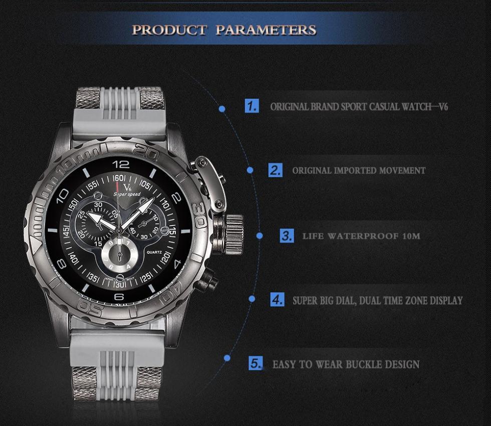 V6 марка стабильный восхождение мужчины часы большой 3D поверхность сталь дейл толщиной стиль резиновые наручные спортивные часы скраб relogio masculino