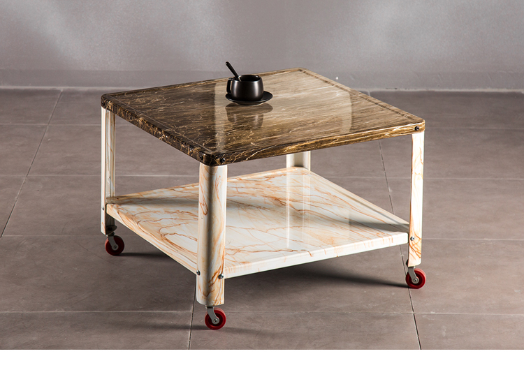 Living Room End Tables Furniture Leisure Small Sofa Side Table With Wheel Modern Square Marble Coffee Table