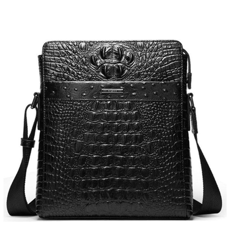 Вертикальный кожа человек мешок бизнес свободного покроя наплечная сумка сумка-мессенджер крокодиловая кожа зернистость воловья кожа мешок