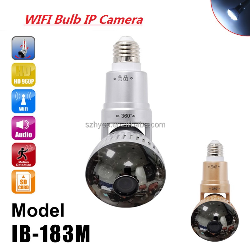 Good Quality HD Rotatable wireless hidden camera light bulb wifi with 3 watt lamp