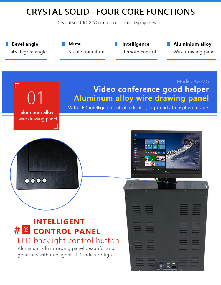 Ultra-thin design conference / office table mounted motorized pop up lcd monitor lift