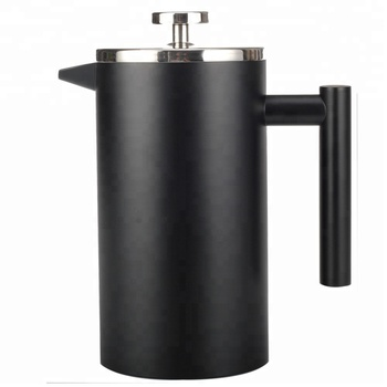 French Press Double-Wall Stainless Steel coffee plunger (1L) Coffee/Tea Maker: Double-Screen System 100% No Coffee Grounds