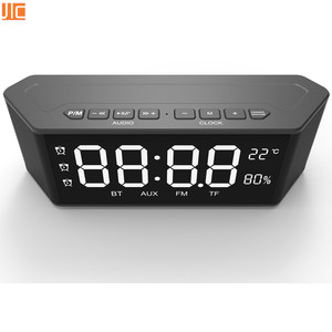 CE RoHS portable Bluetooth Speaker with alarm Clock FM Radio TF AUX MIC Temperature Humidity LED Screen