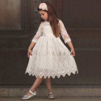 2019 Girls Christmas Flower Lace Embroidery Dress Kids Dresses For Girl  Princess Autumn Winter Party Ball Gown Children Clothing , Buy Girls