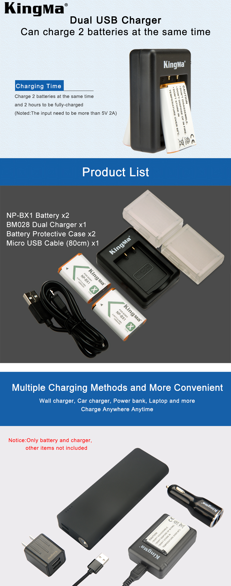 KingMa NP-BX1 Pin (-Pack) Sony NP-BX1 Kép USB Battery Charger cho và Nhanh Chóng/M8 DSC-HX50V HX300 HX400 RX100