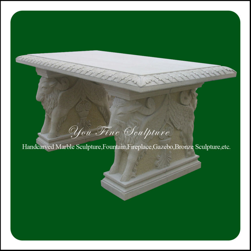 Animal carved white marble garden bench for sale