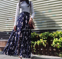 New women fashion printed florals elegant designer long skirts