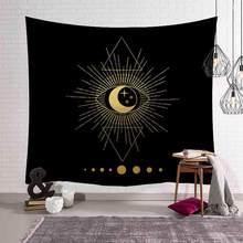 Золотой гобелен с рисунком Солнца и Луны в индийском стиле, плед с рисунком мандалы в стиле бохо, декоративный хиппи, гобелены, одеяло, ковер,...(Китай)