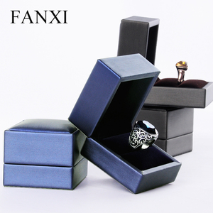FANXI Made in China Exquisite PU Leather Wooden Jewellery Display Case Finger Ring Boxes Proposal Gift Package Jewelry Ring Box