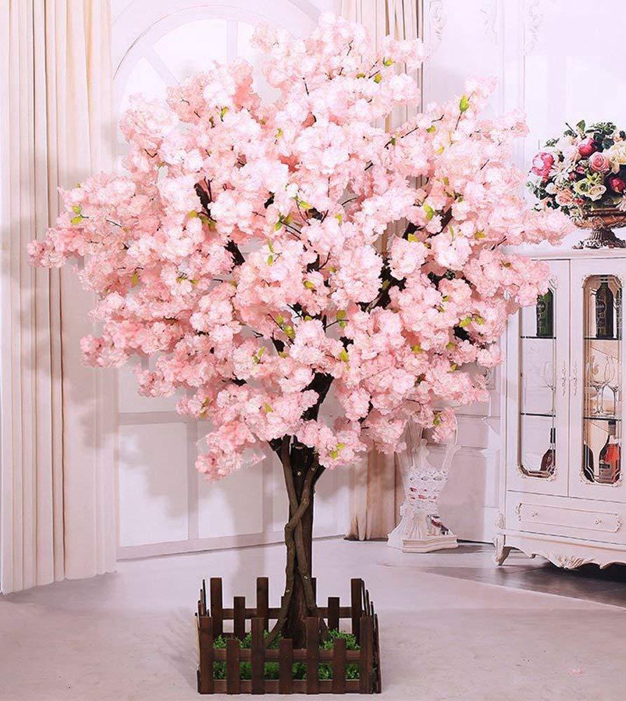 j-beauty Cherry Blossom Tree Sakura Tree Artificial Plant Indoor/Outdoor/Party/Restaurant/Mall, Real Tree Trunk Silk Flower (6ft T)